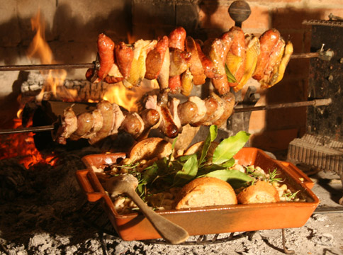 Food - Grilled sausages and Guinea Hen