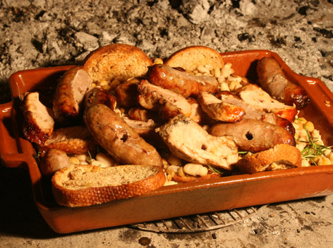 Food - Sausages and cannellini beans